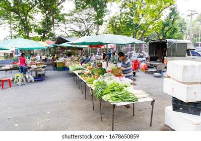 BANGKOK, THAILAND - FEBRUARY 05, 2020: Open-air fruit and vegetable market in Bangkok, Thailand in February 2020