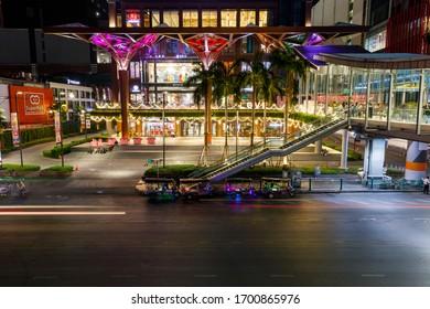 BANGKOK, THAILAND - FEBRUARY 05, 2020: Busy streets of the city of Bangkok, Thailand, at night in February 2020