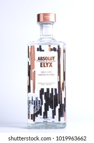 "BANGKOK, THAILAND - FEBRUARY 06, 2018: Bottle of  ""ABSOLUT ELYX"" on white background"