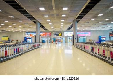 BANGKOK, THAILAND - FEBRUARY 08, 2018: Indoor view of baggage carts at Suvanaphumi Airport, Bangkok, Suvarnabhumi airport is world's 4th largest single-building airport terminal