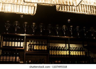 BANGKOK, THAILAND - FEBRUARY 08, 2018: a shelf full of alcohol drinks