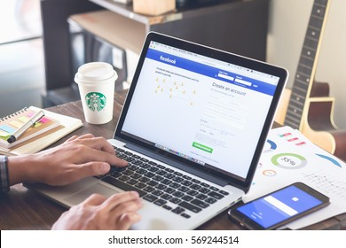 BANGKOK ,THAILAND - February 1, 2017 : Login Screen Facebook icons on apple macbook pro. largest and most popular social networking site in the world.