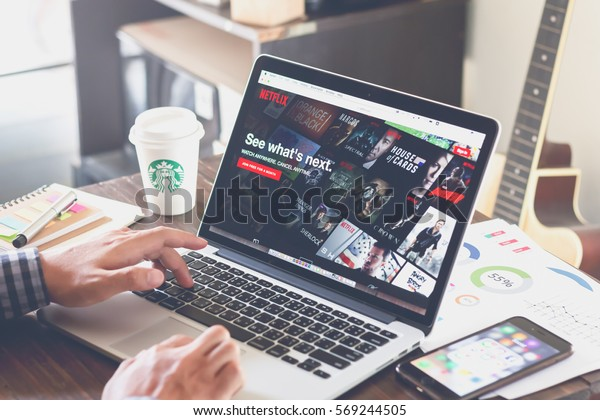 BANGKOK ,THAILAND - February 1, 2017 : Netflix app on Laptop screen. Netflix is an international leading subscription service for watching TV episodes and movies.