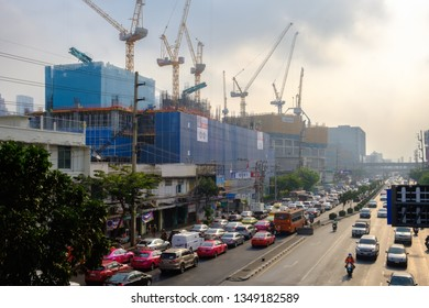Bangkok, Thailand - February 1, 2019: Air pollution from Lots of dust or PM2.5 particle exceeds the standard at Bangkok city, Thailand. Negative effect on Respiratory system and health.