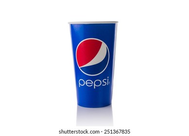 BANGKOK, THAILAND - FEBRUARY 10, 2012: Vintage glass with old Pepsi logo in closed-up. Pepsi is a carbonated soft drink sold in stores, restaurants, and vending machines around the world