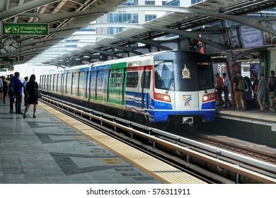 BANGKOK, THAILAND - February 10, 2017: Passengers waiting for BTS sky train at Pleon Chit Station on February 10, 2017.