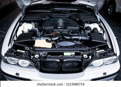 BANGKOK, THAILAND - FEBRUARY 10, 2018: The BMW 5 Series E39 M5 engine bay after cleaning and dressing. Illustration of M Power car engine details. Concept of car detailing and modification.