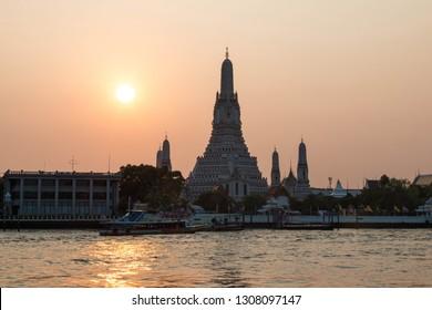 BANGKOK, THAILAND - February 10, 2018 : Wat Arun Thailand Temple in Sunset scene.