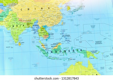 Bangkok, Thailand - February 10, 2019: Political Map of Southeast Asia Countries