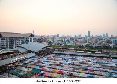 BANGKOK, THAILAND - February 10, 2019 : Top view during sunset evening at Train Night Market Ratchada is a market in Bangkok.