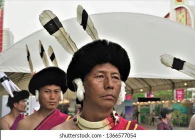 Bangkok, Thailand - February 10 2019: Sumi Naga from Northeast India performing traditional dance during the Northeast India festival in Bangkok.