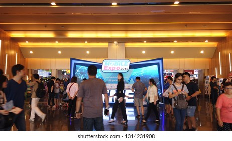 BANGKOK , THAILAND - February 10, 2019:Thailand Mobile Expo, Mobile phone Trade fair,a lot of people are here to buy smartphone.