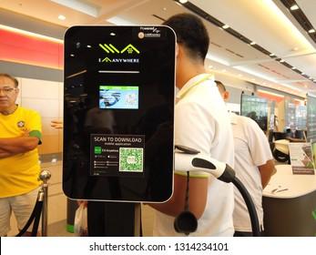 BANGKOK , THAILAND - February 10, 2019:Thailand Mobile Expo, Mobile phone Trade fair,Mine mobility city ev concept