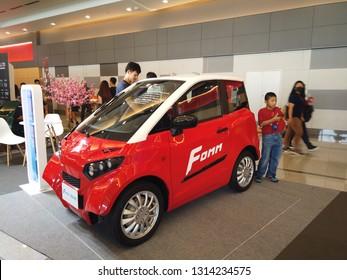 BANGKOK , THAILAND - February 10, 2019:Thailand Mobile Expo, Mobile phone Trade fair,Fomm one city ev concept