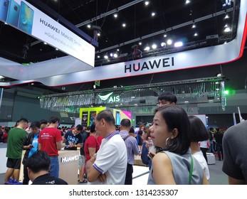 BANGKOK , THAILAND - February 10, 2019:Thailand Mobile Expo, Mobile phone Trade fair,HUAWEI store.