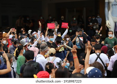 Bangkok, THAILAND - February 10, 2021: Myanmar protesters joined thai protesters protest at Pathumwan Intersection to hit the pot for against the military coup and free Aung San Suu Kyi.