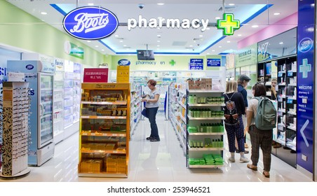 BANGKOK, THAILAND - FEBRUARY 10: Exterior view of Boots pharmacy store on February 10, 2015 in Bangkok, Thailand. The Boots pharmacy chain has over 3,300 stores in 21 countries.