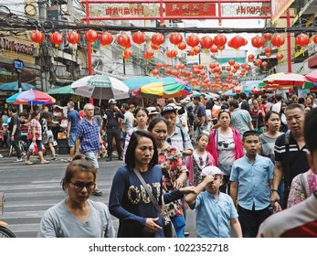 Bangkok, Thailand - February 11, 2018 : People buying stuffs at Yaowarat Road or Bangkok's Chinatown, preparing for the Chinese New Year coming up this week.