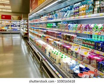 Bangkok, Thailand - February 11 2018: Dairy product and yogurt on the shelf in supermarket.