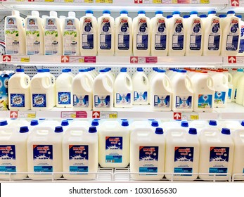 Bangkok, Thailand - February 11 2018: Various brand of fresh milk bottles on supermarket shelf.