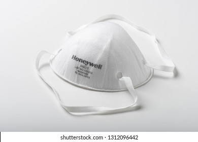 BANGKOK, THAILAND - FEBRUARY 11, 2019: The Honeywell N95 Pollution Mask over white background. This mask NIOSH certified N95 Pollution, Dust and Swine flu Mask.