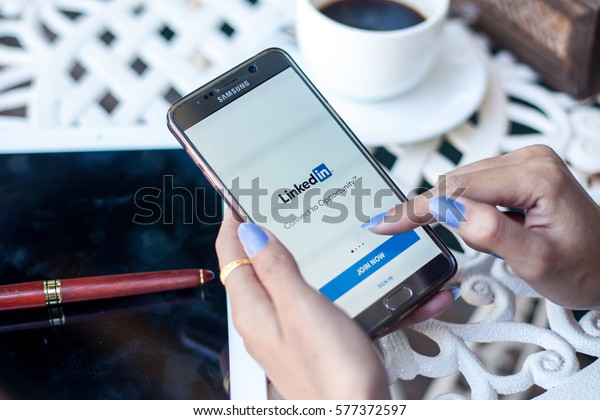 Bangkok, Thailand - February 12,2017:Linkedin app. Linkedin is a social networking website for people in professional occupations.
