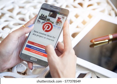 Bangkok, Thailand - February 12,2017:Pinterest application on the screen. Pinterest is an online pinboard that allows people to pin their interesting things.