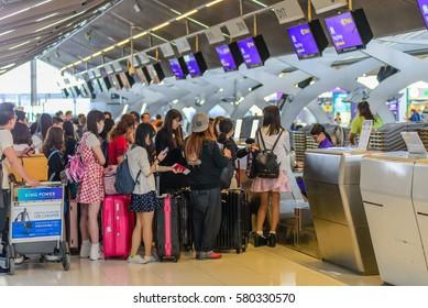 Bangkok, Thailand - February 13 , 2017 : Inside of Suvarnabhumi Airport. Suvarnabhumi Airport is one of two international airports serving Bangkok