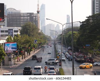 Bangkok Thailand - February 13, 2017: View of street and traffic in Pathumwan district with a background of high rise building.
