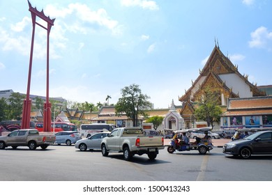 Bangkok, Thailand - February 14, 2015 : View of Sao Ching Cha (Giant Swing) and  Wat Suthat temple in summer.