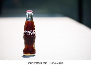 BANGKOK, THAILAND - FEBRUARY 14 , 2018 : Classic Bottle of Coca-Cola In Bangkok, Thailand 2018