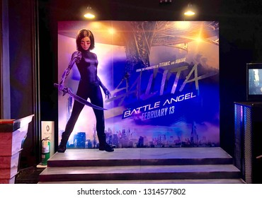 Bangkok, Thailand - February 15, 2019: View of standee Alita: Battle Angel, 2019 American cyberpunk action film based on Yukito Kishiro's manga series Gunnm, poster in front of the theater in Bangkok.