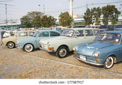 BANGKOK, THAILAND - FEBRUARY 15 : Volkswagen retro vintage car display in Siam VW festival 2014 on February 15, 2014 in Bangkok Thailand.