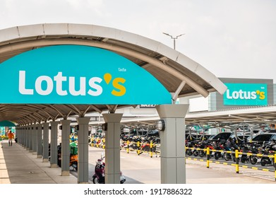 Bangkok, Thailand. February 16, 2021. Rebranding of hypermarket brand Tesco Lotus to Lotus's after business takeover in Thailand by CP group.