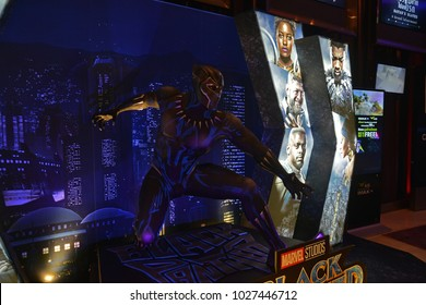 Bangkok, Thailand - February 17, 2018: Black Panther Model With A Standee of A Marvel Superhero Movie Black Panther Display at the theater.