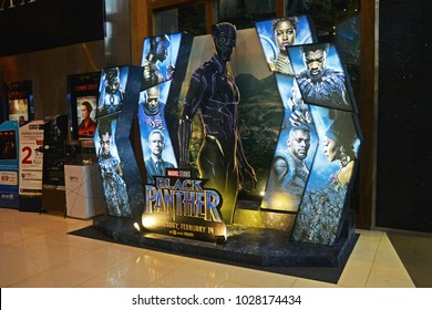 Bangkok, Thailand - February 17, 2018: Beautiful Standee of A Marvel Superhero Movie Black Panther Display at the theater.
