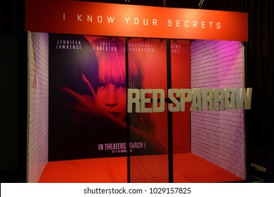 Bangkok, Thailand - February 17, 2018: Standee of An American Spy Movie Red Sparrow displays at the theater