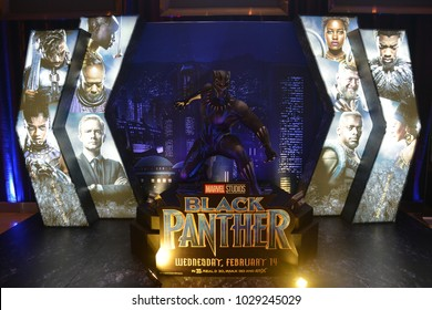 Bangkok, Thailand - February 17, 2018: Black Panther Model With A Standee of A Marvel Superhero Movie Black Panther Display at the theater