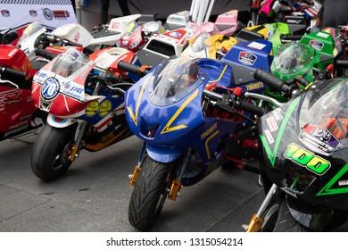 BANGKOK, THAILAND - February 17, 2019 : small bikes and mini motorcycles at Bangkok Motorbike Festival 2019, Central World.