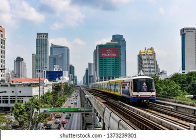 BANGKOK, THAILAND - FEBRUARY 18, 2013: Skytrain in the city of Bangkok in Thailand