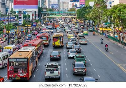 BANGKOK, THAILAND - FEBRUARY 18, 2013: Traffic jam in the city of Bangkok in Thailand