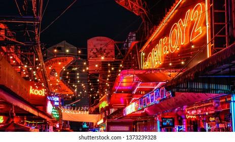 BANGKOK, THAILAND - FEBRUARY 18, 2013: Lights in the city of Bangkok in Thailand