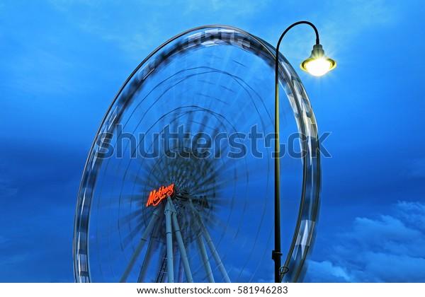 BANGKOK, THAILAND - FEBRUARY 18, 2017: Ferris wheel at Asiatique The Riverfront in Bangkok.