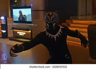 Bangkok, Thailand - February 18, 2018: Costume Black Panther To Promote A Marvel Superhero Movie Black Panther at the theater.