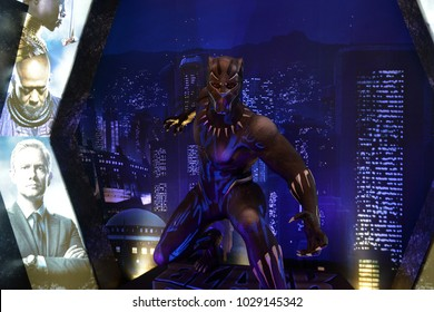 Bangkok, Thailand - February 18, 2018: Black Panther Model With A Standee of A Marvel Superhero Movie Black Panther Display at the theater.
