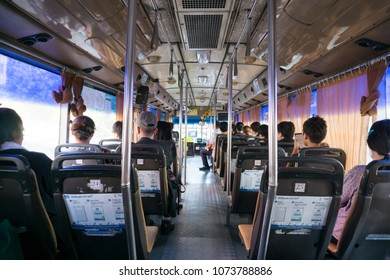 Bangkok, Thailand - February 18,2018 : Unidentified peoples are sitting in the air conditioned bus
