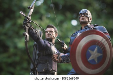 BANGKOK THAILAND - FEBRUARY 2 ,2017 : Close up shot of Captain America Civil War and Hawkeye superheros figure in action fighting. Captain america appearing in American comic books by Marvel.