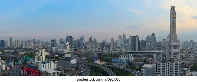 BANGKOK, THAILAND - FEBRUARY 2, 2017: Bangkok landscape view from Ratchaprarop road, taken in late afternoon, showing the view of city center
