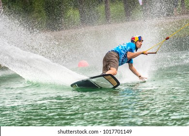 Bangkok, Thailand - February 2, 2018 : Wakeboarding rider seasonal Plastic Playground 2018 World Series competition International Wakeboard Championship at Thai Wake Park Lumlukka district Thailand