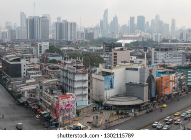 BANGKOK, THAILAND - February 2, 2019 : Aerial view of Bangkok with heavily polluted air on a hazy winter day ~ Air pollution level of PM 2.5